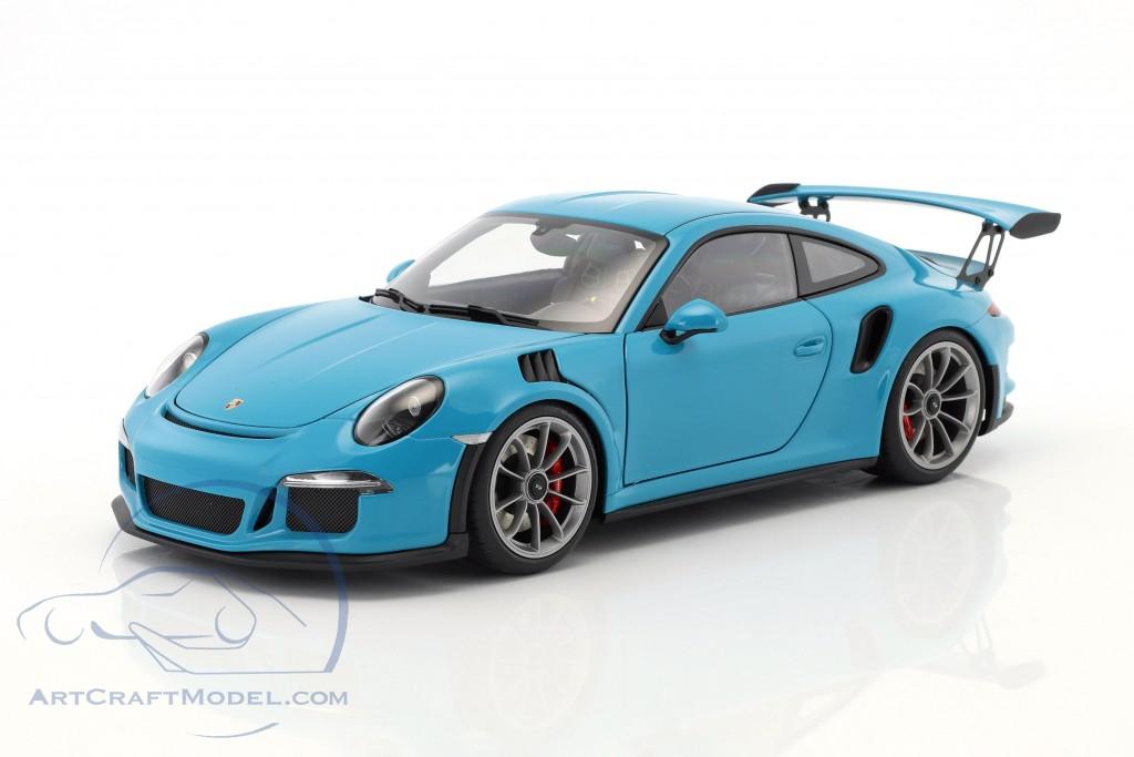 Porsche 911 991 Gt3 Rs Year 2016 Miami Blue With Dark Gray Wheels 78167 Ean 674110781670