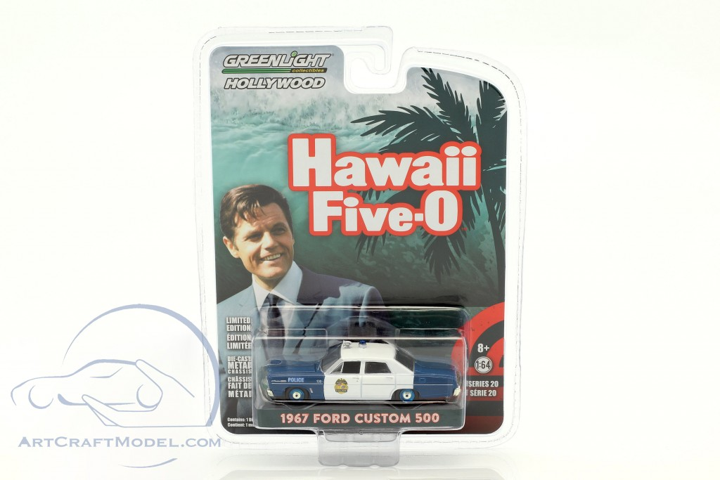 Ford Custom 500 Police Construction year 1967 TV series Hawaii Five-O blue  / White