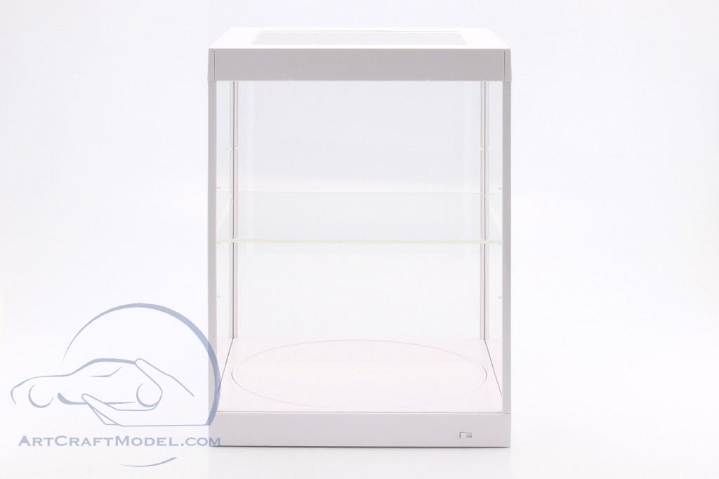 Einzelvitrine mit LED-Beleuchtung und Drehteller für Modellautos im Maßstab  weiß