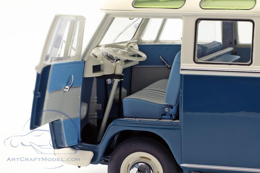 Volkswagen VW T1b Samba Bus Wintersport blau / weiß