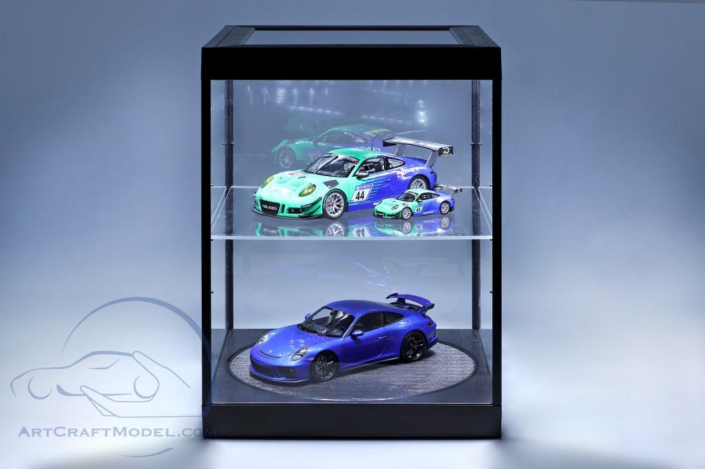 Einzelvitrine mit LED-Beleuchtung und Drehteller für Modellautos im Maßstab  schwarz