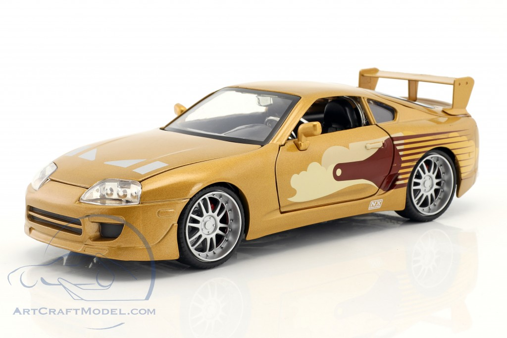 Slap Jack's Toyota Supra year 1995 Movie 2 Fast 2 Furious (2003) gold  Jada Toys