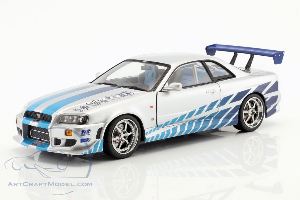 Brian's Nissan Skyline GT-R (BNR34) 1999 Film 2 Fast 2 Furious (2003) silber / blau