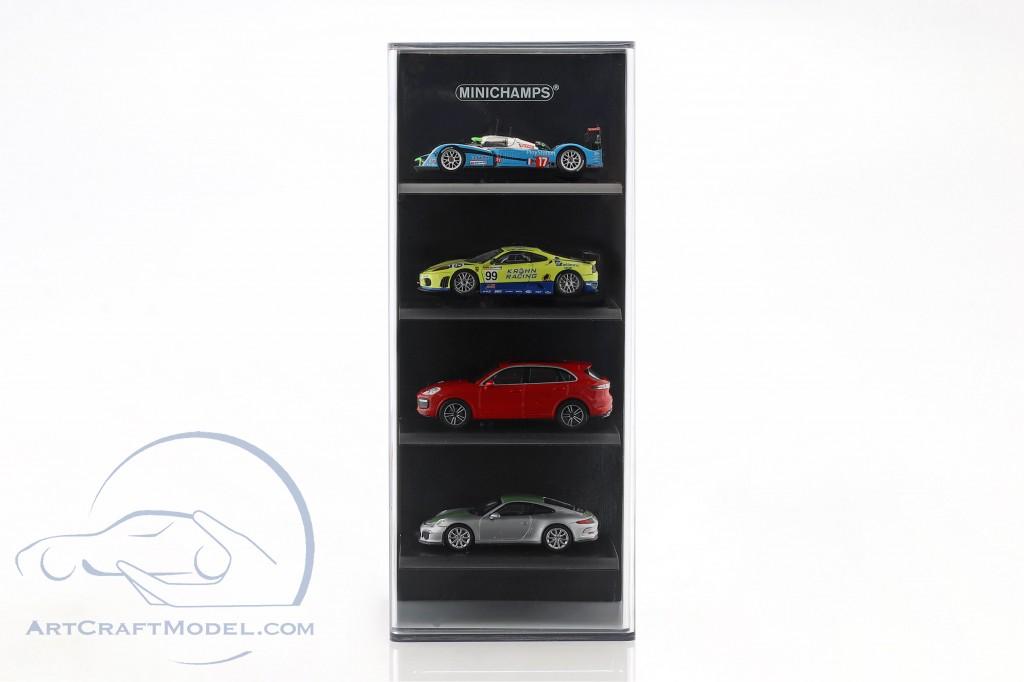 Acryl Vitrine für 4 Modellautos im Maßstab  schwarz