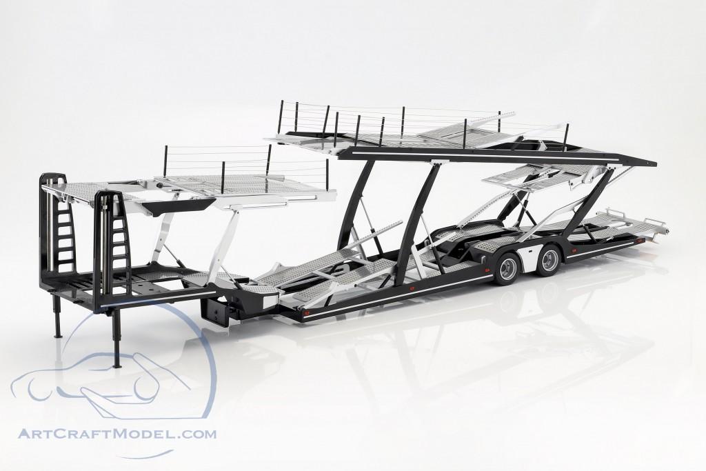 Auflieger Autotransporter für Mercedes-Benz Actros Sattelzugmaschine schwarz / silber