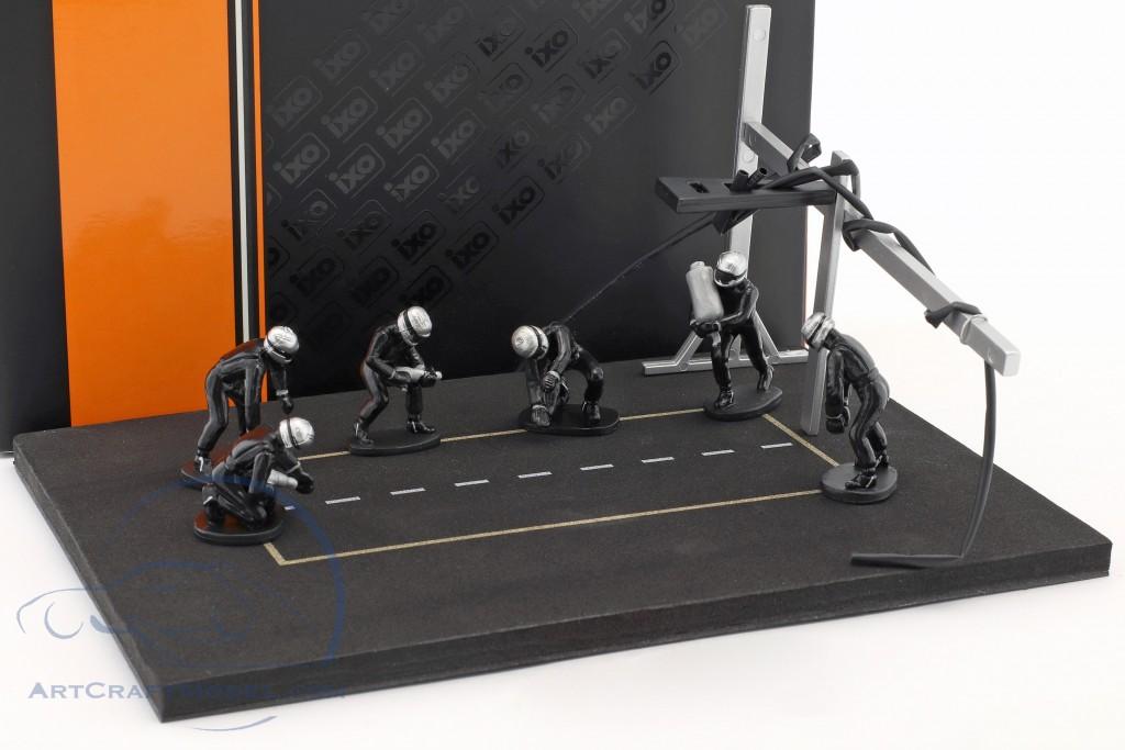Pit Stop Mechaniker Set mit 6 Figuren und Zubehör schwarz