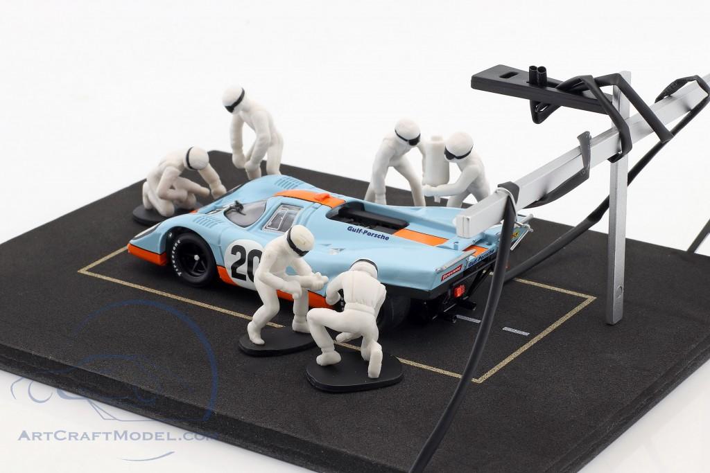 Pit Stop Mechaniker Set mit 6 Figuren und Zubehör weiß