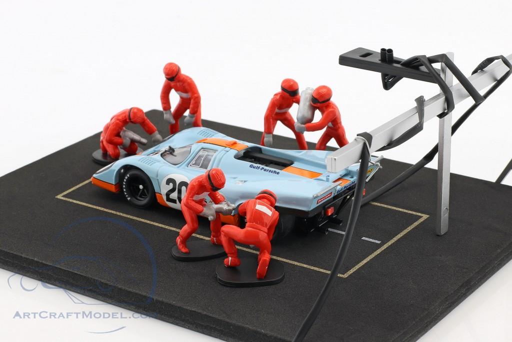 Pit Stop Mechaniker Set mit 6 Figuren und Zubehör rot
