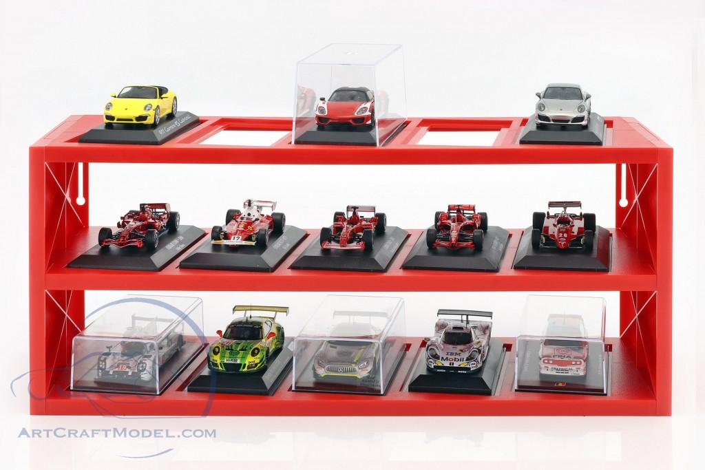 Kunststoff Vitrine für bis zu 15 Ferrari F1 Modelle im Maßstab  rot