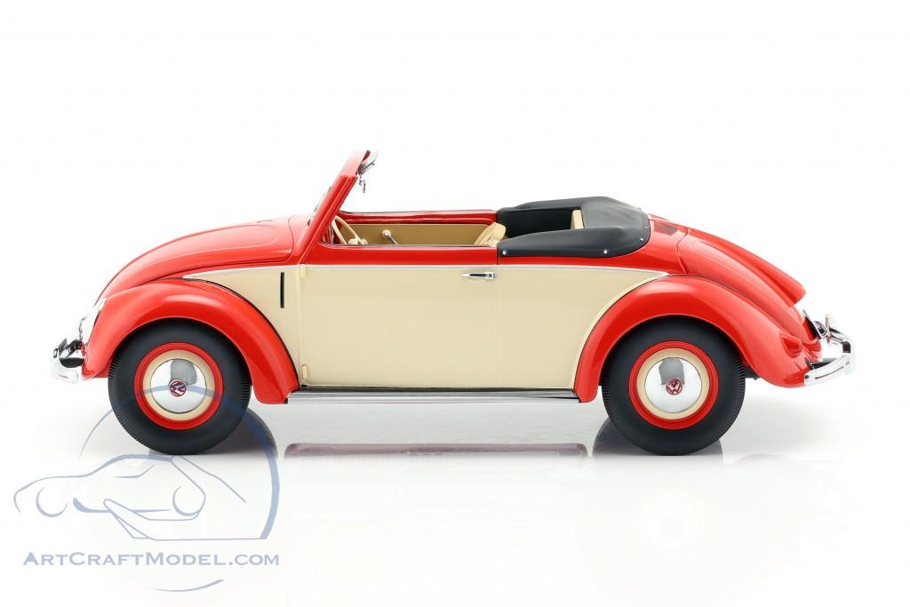 Volkswagen VW 1200 Cabrio Hebmueller 1949 Red Cream 1:18 Model 107054231