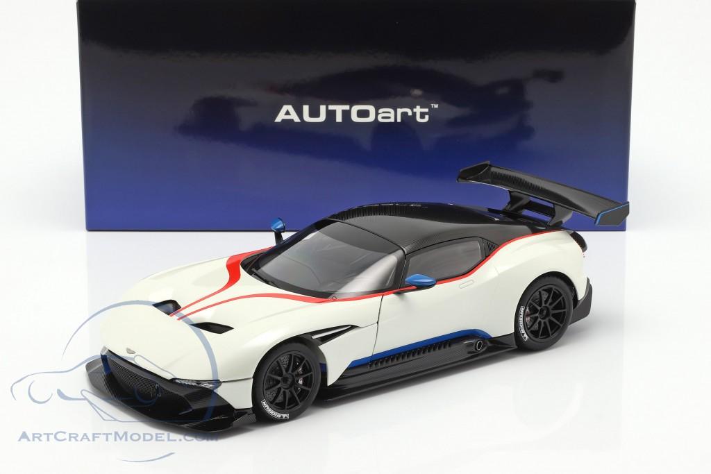 AUTOart 70261 Aston Martin Vulcan 1:18TH Scale Stratus White w// Blue Stripes