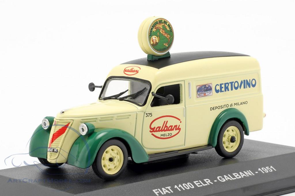 Fiat 1100 ELR CHINOTTO NERI 1951 VAN 1:43 Diecast Atlas