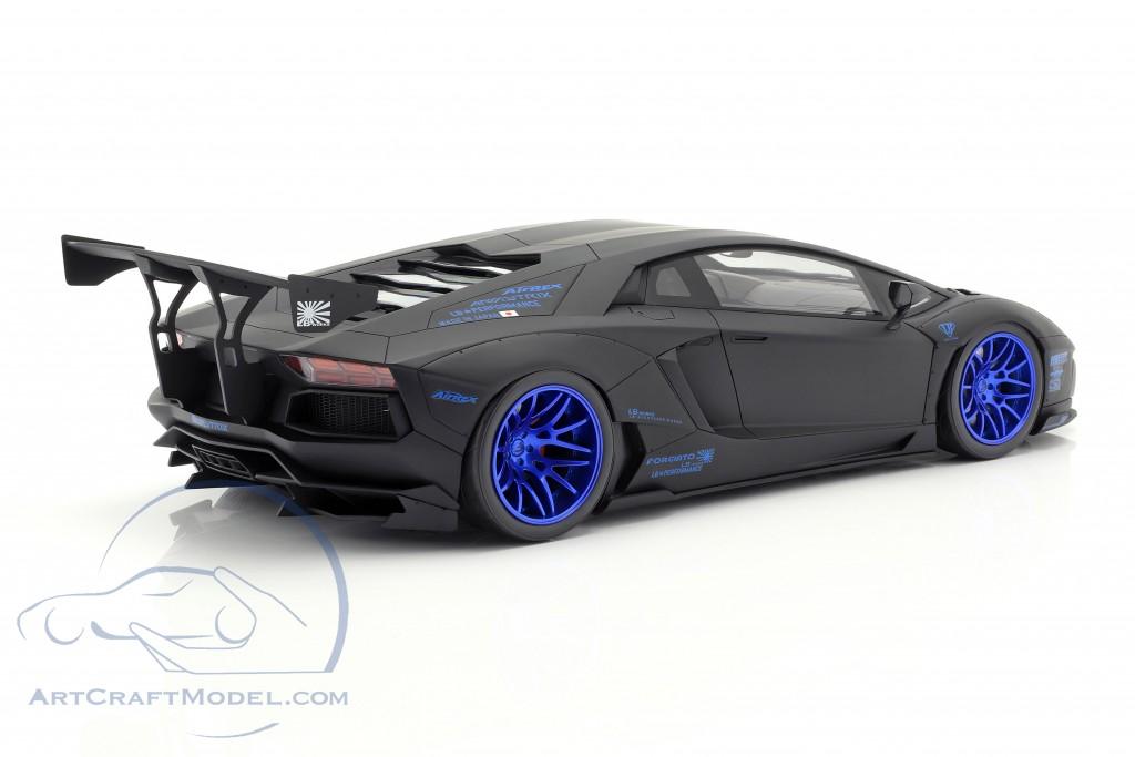 Lamborghini Aventador LB-Works year 2017 mat black / blue  GT-Spirit