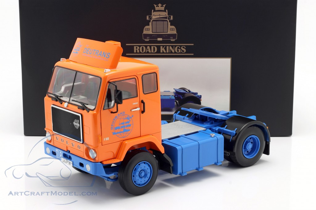 Volvo F88 Deutrans Truck year 1965 orange / blue