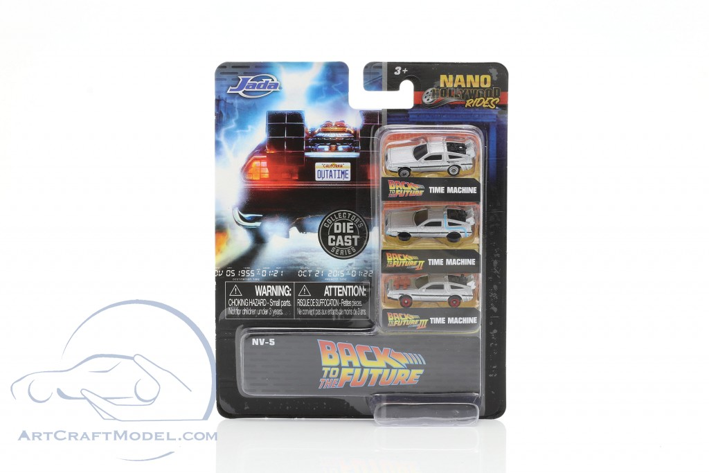 3-Car Set DeLorean Time Machine Back to the Future silver  Jada Toys