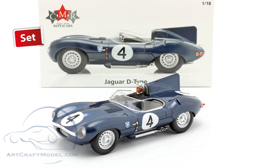 Set: Jaguar D-Type #4 Winner 24h LeMans 1956 with driver figure