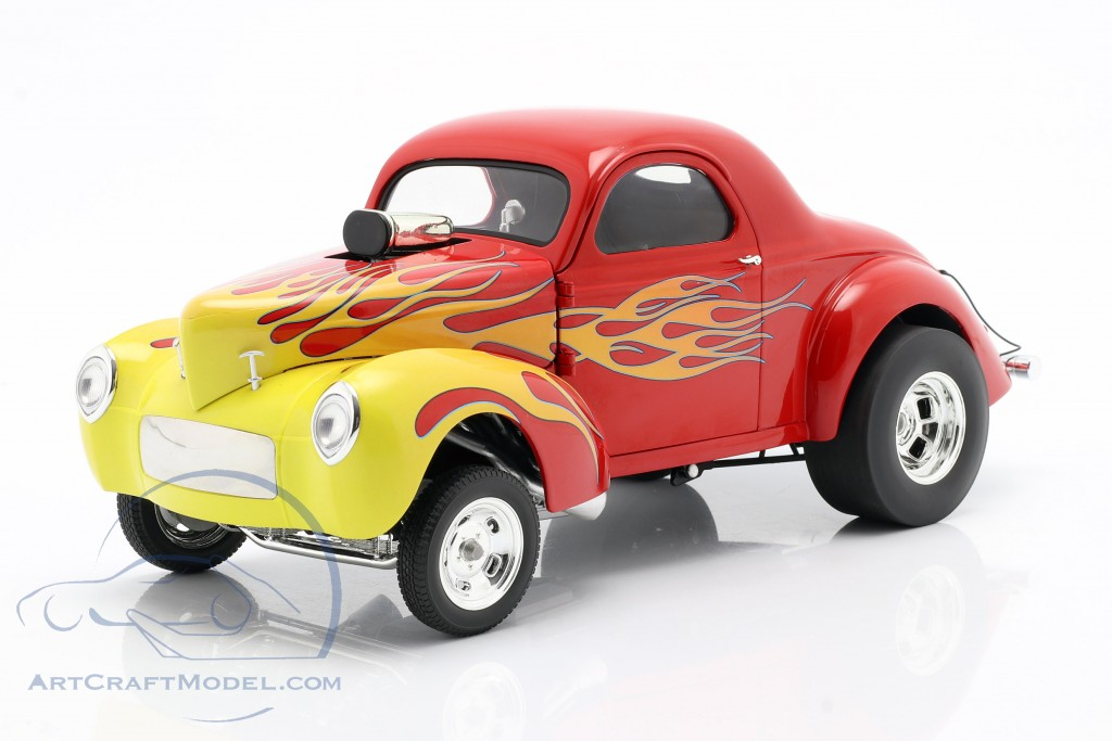 Willys Gasser year 1941 red with flames