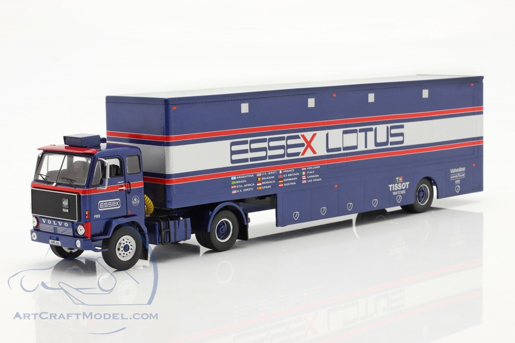 Volvo F89 Race Car Transporter Essex Lotus blue / silver / red