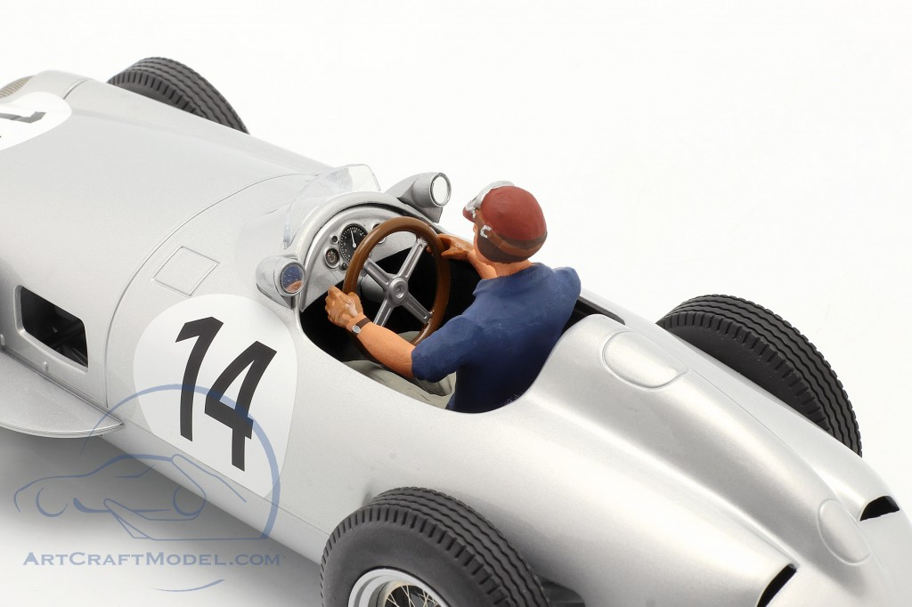 Set: K. Kling Mercedes-Benz W196 #14 formula 1 1955 with driver figure blue shirt