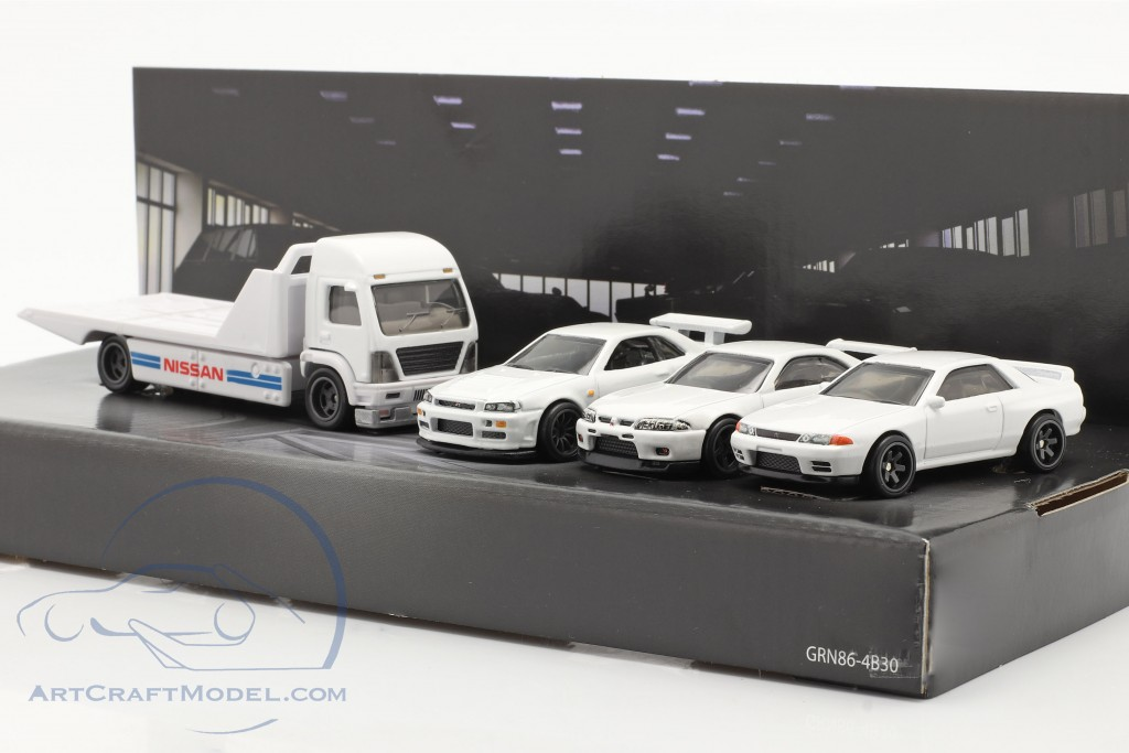 4-Car Set Nissan: Flatbed Truck & 3x Nissan Skyline white