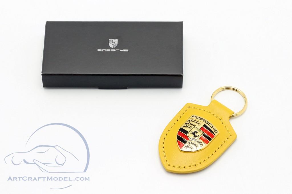 Leather keychain Porsche badge speed yellow