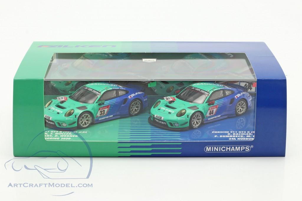 2-Car Set Porsche 911 GT3 R #44 #33 24h Nürburgring 2020 Falken Motorsports