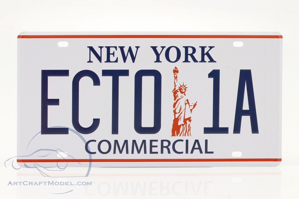 License plate 30 x 15 cm ECTO-1A Cadillac 1959 Movie Ghostbusters (1984) White
