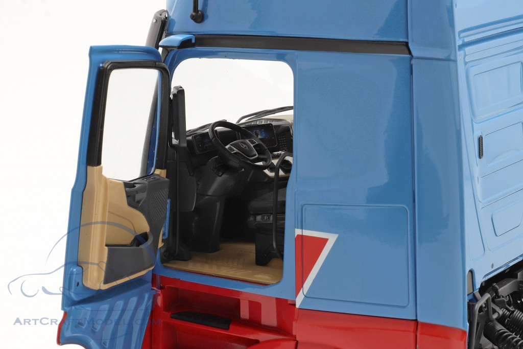 set Mercedes-Benz Actros with Lohr Car transporter Mosolf light blue